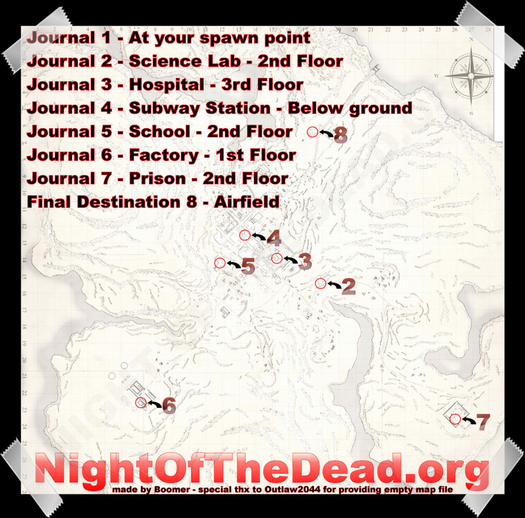 Journal Spawn Points Night of the Dead Game
